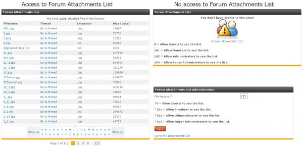 Forum Attachments List